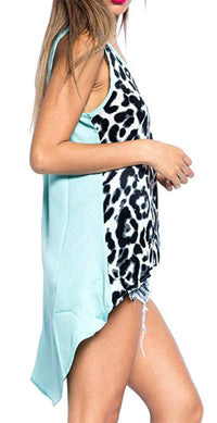 Semi Sheer Leopard Print Asymmetrical Hem Tank Top