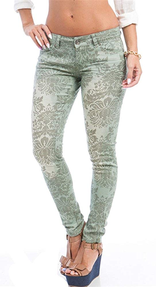 Floral Baroque Print Skinny Jeans Green