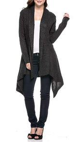 Ribbed Knit Long Sleeve Asymmetric Open Front Cardigan
