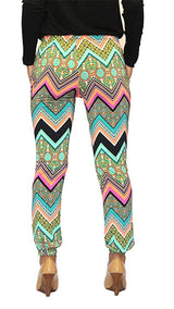 Colorful Chevron Print Satin Jogger Pants