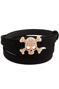Women's Rhinestone Skull & Crossbones Skinny Fashion Belt