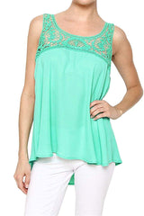Sleeveless Lace Crochet Detailed Tank Top