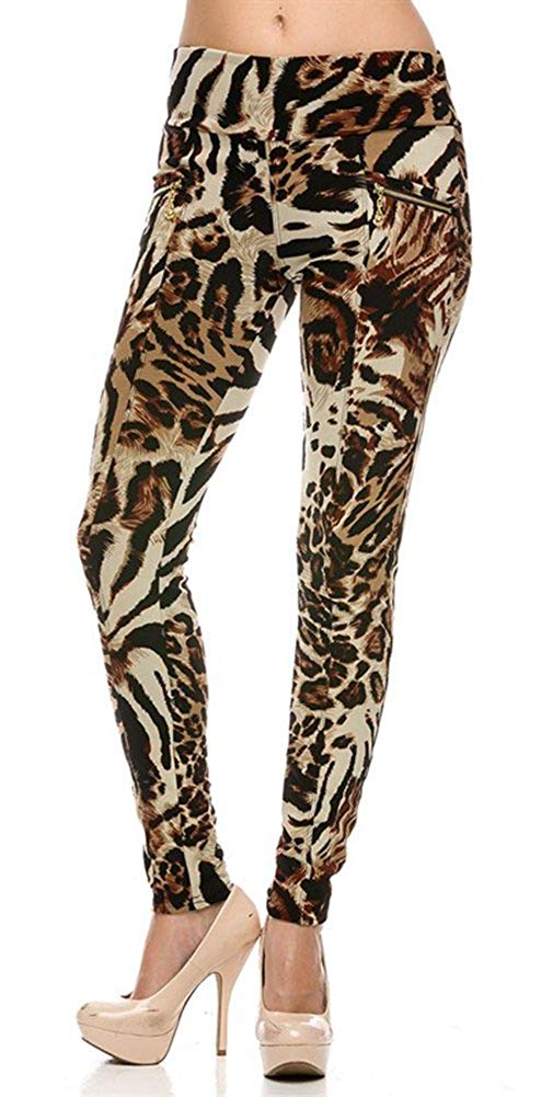 High Waist Thick Leopard Print Lined Ponte Leggings