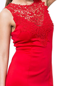 Above Knee Crochet Lace Cocktail Dress Red