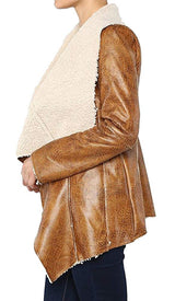 Faux Lambskin Leather Sherpa Lined Oversize Collar Coat