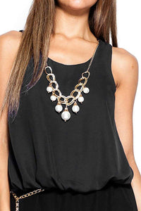 Keyhole Chiffon Blouse with Faux Pearl Necklace