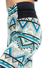 Aztec Print High Waist Thick Ponte Leggings