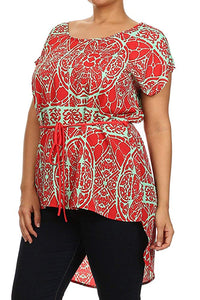 Plus Size Asymmetrical Hem Tunic Top