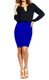 High Waist Knee Length Pencil Skirt with Bow Detail