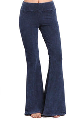 French Terry Bell Bottom Yoga Pants with Pockets Dark Blue