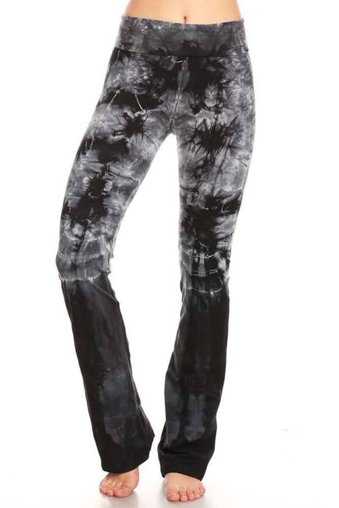 T Party Womens Folded Tie Dye Stripes Foldover Waist Yoga Pants