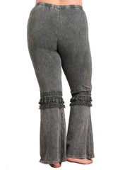 Women's Plus Tassel Bell Bottom Stretch Yoga Pants Dark Grey