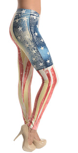 T-Party Vintage Wash American Flag Yoga Leggings