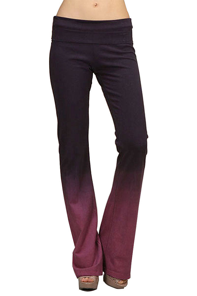 Ombre Deep Mauve Dipped Tie Dye Yoga Pants