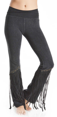 T-Party Studded Long Fringe Leg Yoga Pants