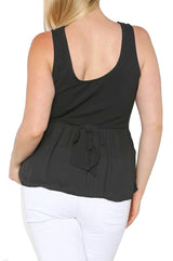 Plus Size Sleeveless Chiffon Back Peplum Top