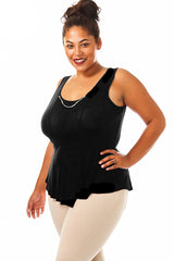 Plus Size Chain Accented Soft Paneled Top