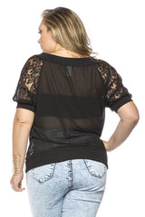 Plus Size Sheer Floral Lace Blouse with Shortsleeves
