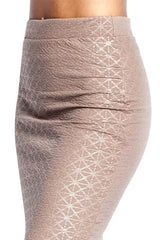 High Waist Embossed Midi Length Pencil Skirt