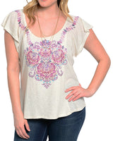 Plus Size Beige with Purple Gem Flutter Sleeve Top