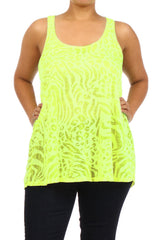 Plus Size Sheer Burnout Animal Print Slub Racer Tank Top