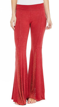 T-Party Red Bell Bottom Lace Mermaid Leg Yoga Pants