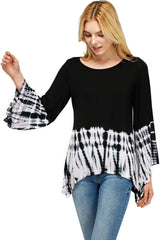 Flared Bell Sleeve Top with Sharkbite Hem Black