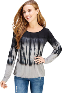 Long Sleeve Black Shibori Bubble Hem Blouse