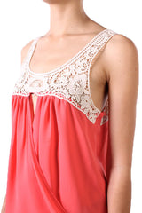 Surplice Crochet Tank Top with Keyhole Cutout