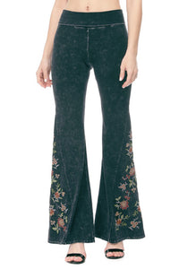 Women's floral embroidered yoga pants eith wide flared bell bottom legs. Made in America!