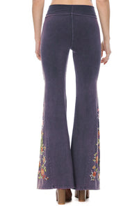 T-Party Floral Embroidered Bell Bottom Flare Leg Yoga Pants Navy