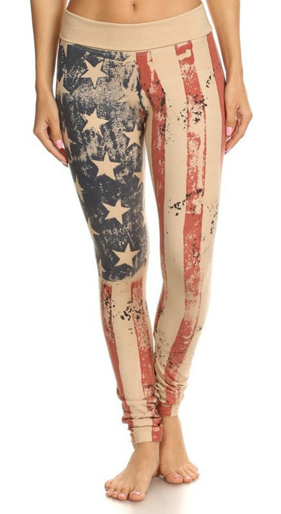 T-Party Old Glory American Flag Yoga Leggings