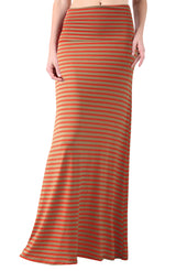 Striped Banded Waist Maxi Skirt