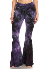 T-Party Purple Tie Dye Paisley Bell Bottom Yoga Pants