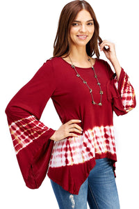 Flared Bell Sleeve Top with Sharkbite Hem Red