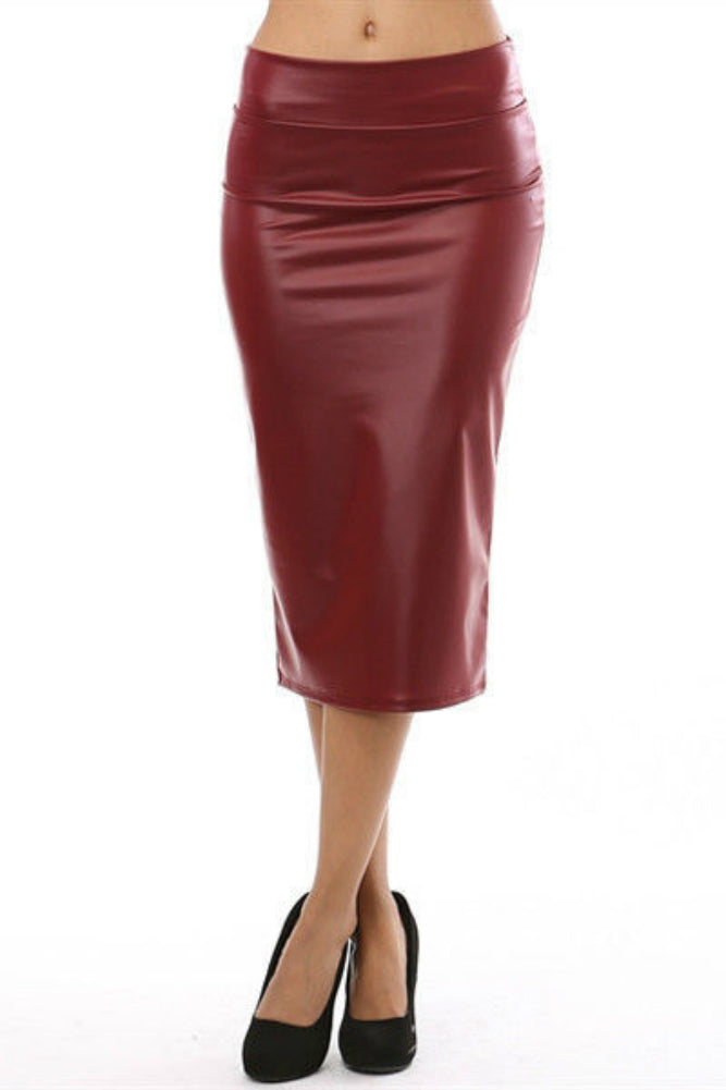 Dark Red Faux Leather High Waist Midi Pencil Skirt