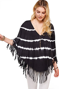 Boho Black and White Striped Tie Dye Fringe V Neck Poncho
