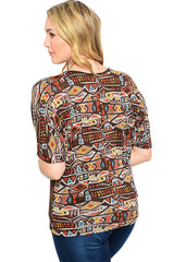Plus Size Boho Colorful Print Lace Back Shirt