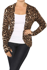 Rounded Front Leopard Print Knit Cardigan