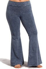 Plus Size French Terry Bell Bottom Yoga Pants with Pockets