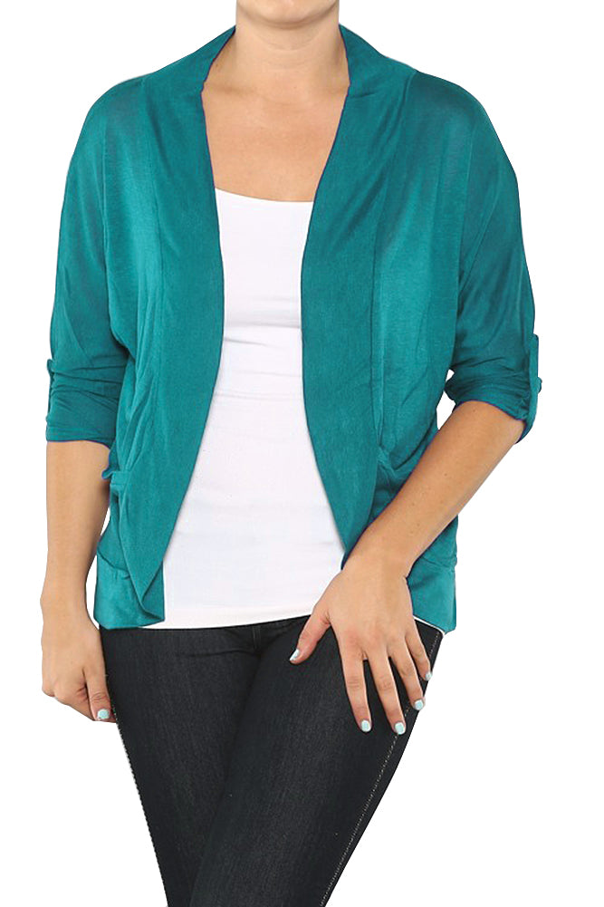 Plus Size Knit 3/4 Long Sleeve Cardigan