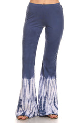 Blue and White Dip Dyed Bell Bottom Stretch Yoga Pants