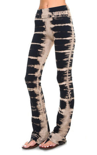 Tie Dye Black and Tan Yoga Pants Side View