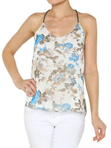 Floral Open Back Chiffon Criss-Cross Strap Slouchy Camisole