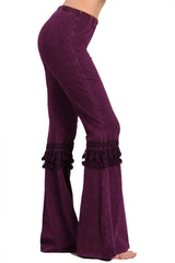 Women's Tassel Bell Bottom Stretch Yoga Pants Warm Tones