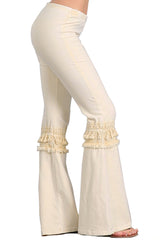 Women's Tassel Bell Bottom Stretch Yoga Pants Neutrals