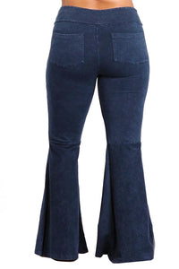Plus Size French Terry Bell Bottom Yoga Pants with Pockets Dark Blue