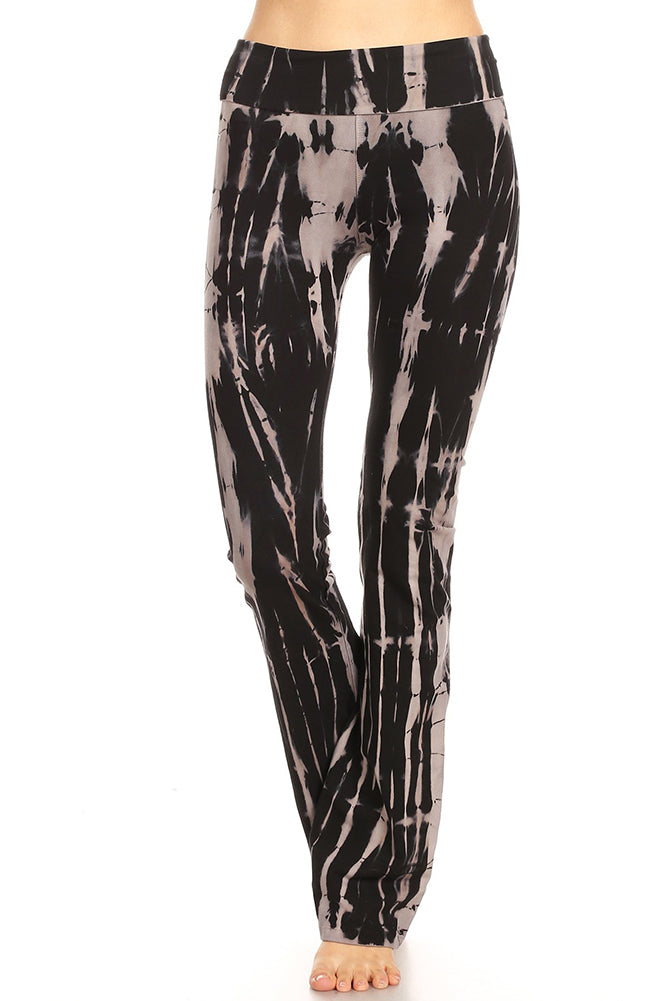 T-Party Black Abstract Stripes Tie Dye Yoga Pants