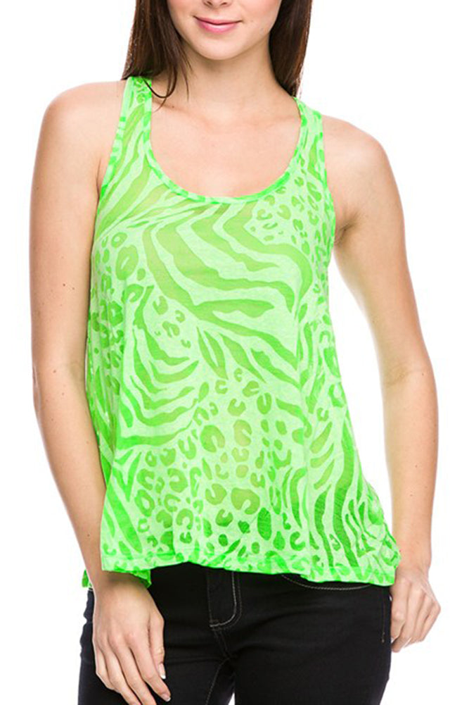 Sheer Burnout Animal Print Slub Racer Tank Top