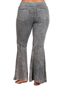 Plus Size French Terry Bell Bottom Yoga Pants with Pockets Gray